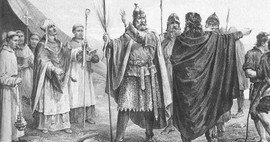 Kung Olaf I anländer till Norge, av Peter Nicolai Arbo